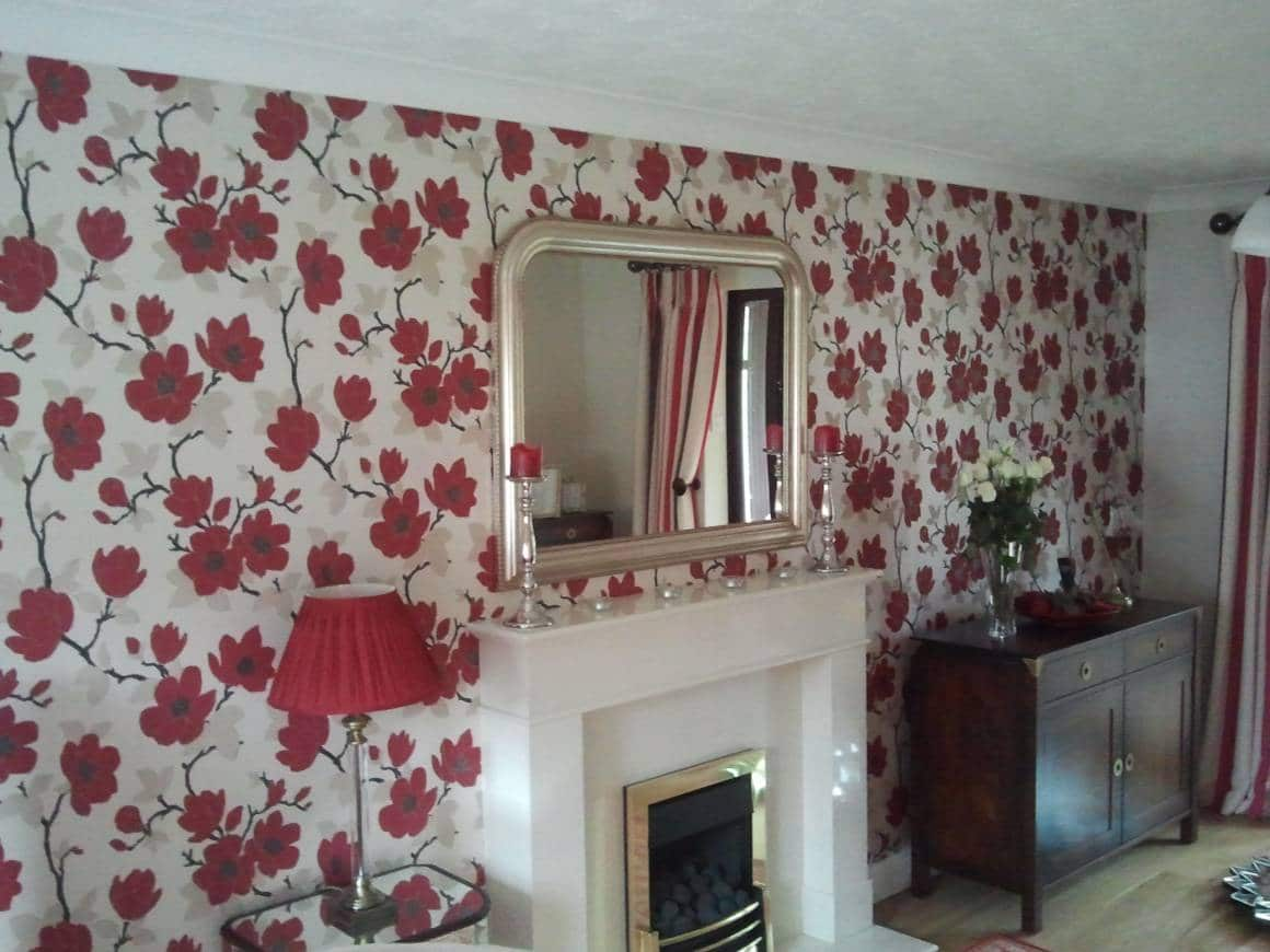 AFTER: Wallpaper and Paint Living Room