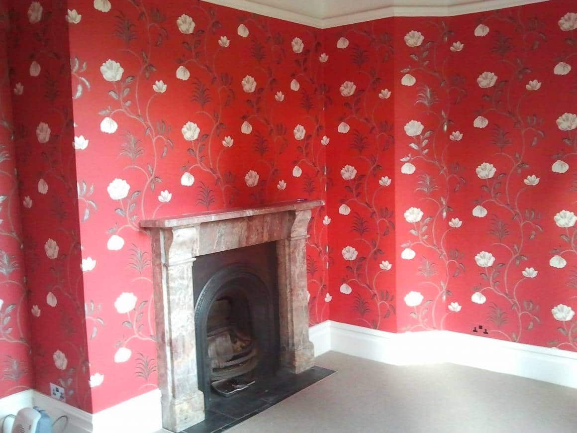 BEFORE: Wallpaper and Paint Living Room